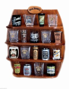 Lenox Wood Jack Daniel's Whiskey Barrel Shot Glass Display Case