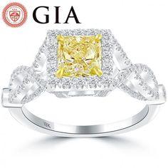 1.94 Carat GIA Certified Fancy Intense Yellow Diamond Engagement Ring 18k Gold - Thumbnail 1