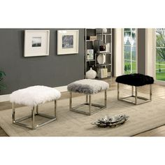 Furniture of America Shika Contemporary Chrome Fur-like Upholstered Small 21-inch Bench