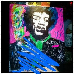 Hendrix fumandose uno 100x90 en vivo.  Http://luisinagentile.tumblr.com