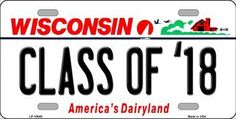 Class Of 18 Wisconsin Background Novelty Metal License Plate