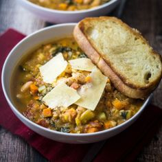 Easy Tuscan Bean Soup - yummy, but I think it looks nicer if it's all left whole rather than blended