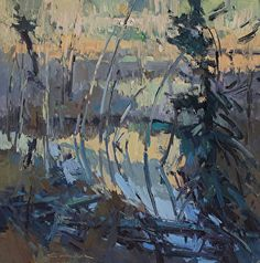 Beaver Pond Abstract by Jill Carver Oil ~ 12 x 12