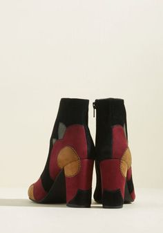 Matinee Suede Block Heel Bootie - Thinking about taking these black suede booties from Seychelles along for an afternoon flick? Smart choice! Once the credits roll, you'll emerge from the theater looking splendid in this retro, block-heeled pair - just in time for the cinema lights to illuminate their burgundy and tan floral appliques.
