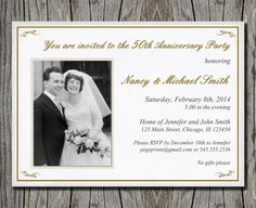 50th Wedding Anniversary Invitation Printable by pegsprints, $13.00