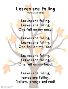 "Song, ""Leaves are Falling"" (tune: ""Jingle Bells"") - Gross Motor Activity- Identifying Body Parts Kindergarten Songs, Preschool Music, Preschool Lessons, Preschool Learning, Halloween Songs Preschool, Songs For Toddlers, Kids Songs, Circle Time Songs, Finger Plays"