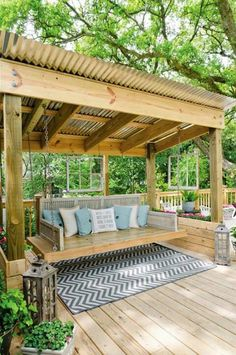 corrugated metal roof//pergola addition