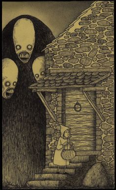"Don Kenn (also known as John Kenn Mortensen) creates fantastical scenes of monsters entirely on Post-It notes. The artwork is inspired by Edward Gorey and Maurice Sendak's ""Where The Wild Things Are. Monster Art, Monster Drawing, Arte Horror, Horror Art, Creepy Art, Scary, Creepy Paintings, Don Kenn, Art Sinistre"