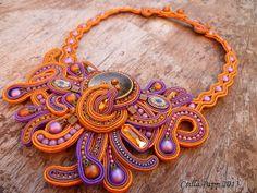 Soutache OOAK necklace purple coper golden yellow by CsillaPapp, $190.00