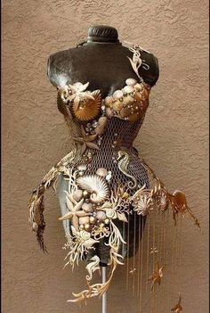 """Sea Witch: #Sea #Witch ~ """"The Birth of Nolemire the Mermaid"""" Steel Corset, by Fiori Couture. One-of-a-kind gold-brushed steel corset embellished with glass beads and Swarovski Crystals. www.lafioricoutur...."""