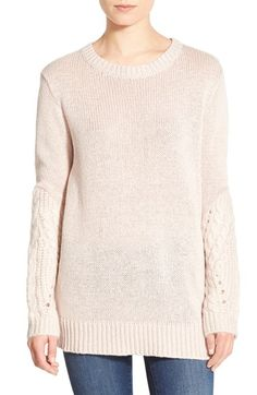 Leith Cable Sleeve Sweater Tunic available at #Nordstrom
