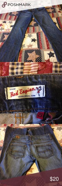 Red engine jeans 29/33 used and lil worn at bottom of legs. Smoker red engine Jeans Flare & Wide Leg