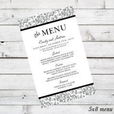 DIY Wedding Menu Printable - Jennifer Design - currently shown in Light Grey, Black, and White