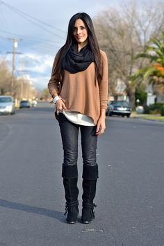 Khaki boyfriend sweater, over skinnies and boots, with black scarf