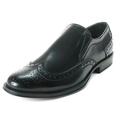7ae408e0a Alpine Swiss Basel Men s Wing Tip Dress Shoes Brogue Medallion Slip On  Loafers Black Size 11
