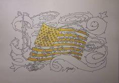 "Saatchi Art Artist Yehouda Morin - YOUD; Drawing, ""BLANODO USA FLAG"" #art"