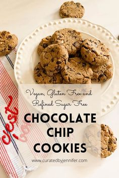 Vegan Gluten Free Chocolate Chip Cookies - Curated by Jennifer