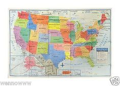 USA United States Map Poster Size Wall Decoration Large Map of The USA 40 x 28