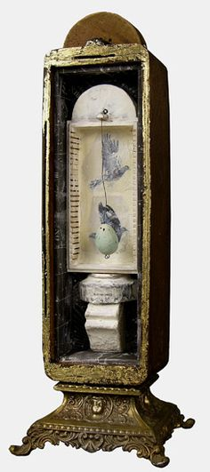 "Graceann Warn, Bird Sanctuary , 2012   19 "" x 5 "" x 4 ""   Encaustic and oil, objects in found box"