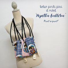 [ NEW - Punt a punt® ] • ¿Ya sabes dónde llevarás el móvil estás fallas? 😜 Nuestros Pepet y Pepetta si!!! En el bolsito para móvil de www.puntapunt.es, para llevarlo cómodamente siempre a mano 🥰 . . #diseñosoriginalespuntapunt #artesania #artesaniavalenciana #madeinvalencia #falles #falles2020 #valencia #valenciaenfalles #jaestemenfalles #pepettafallera #pepet #fallera #fallers #puntapunt® Valencia, Bucket Bag, Couture, Bags, Fashion, Personalized Baby Gifts, Hand Made, Handbags, Moda