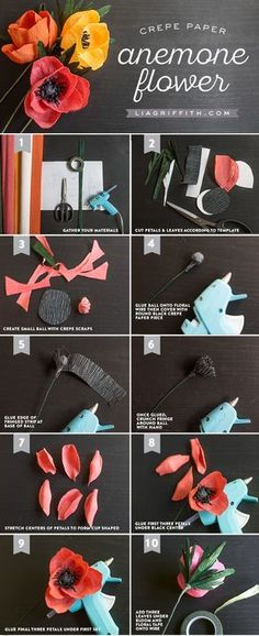 de origami Very Simple Crepe Paper Anemone Crepe_Anemone_Flower_Tutorial How To Make Paper Flowers, Paper Flowers Diy, Handmade Flowers, Felt Flowers, Flower Crafts, Fabric Flowers, Zipper Flowers, Paper Roses, Crepe Paper Crafts