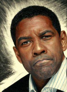 """Denzel Washington"" - AmBr0 {contemporary figurative realism art male head celebrity man face portrait drawing} ambr0.deviantart.com"