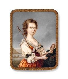 ENGLISH SCHOOL Flora MacDonald (1772-1790), holding a portrait miniature of Bonnie Prince Charlie in her left hand resting on a pedestal draped with tartan cloth, a boat hook resting against her right shoulder, wearing brown dress with tartan bows at her sleeves; seascape background with figures in a boat On ivory Rectangular with rounded corners, 70 x 54 mm., gilt-metal mount within tortoisesehell panel