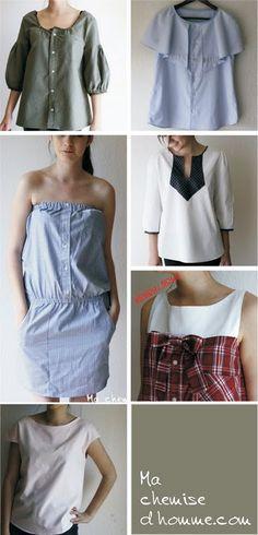 refashioned men's shirt ideas :: ideas para reutilizar una camisa de hombre