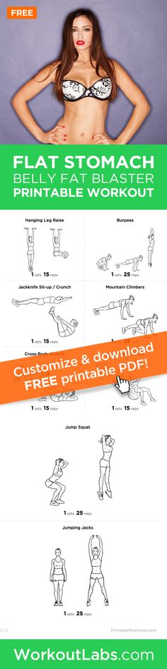 The Flat Stomach Belly Fat Blaster Printable Exercise Plan – Looking to firm and flatten your stomach for the summer months ahead? This workout will do all that and burn fat at once.