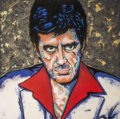 Original Pop Culture/Celebrity Painting by Jose Tobar Acrylic Painting Canvas, Canvas Art, Scarface Poster, Scared Face, Original Paintings, Original Art, Art Sites, Large Art, Medium Art