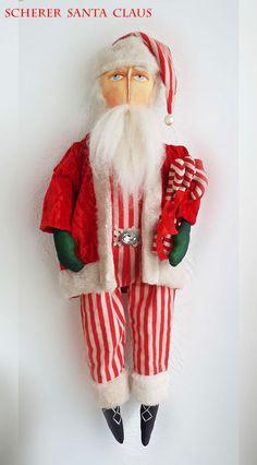 SCHERER Folk Art SANTA CLAUS Primitive Doll Candy Cane CHRISTMAS Collectible #FolkArt http://schererbeautifulliving.blogspot.com/