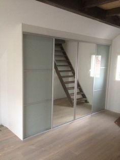 L'art Du Rangement - Placard avec 2 Portes Coulissantes Miroir + 2 Portes Coulissantes Verre Laqué.