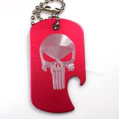 "Punisher Skull Red Key Chain With 4"" Chain Dog Tag Aluminum Bottle Opener EDG-0053"
