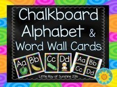 These simple and colorful chalkboard alphabet card and word wall sets can be used in any classroom.  The alphabet cards are approximately 7 inches high and 5 inches wide.These are great to reinforce letter recognition and sounds! The word wall set does not include words, they are simply for labeling purposes.If you have any questions, please feel free to ask!