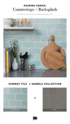 Mint green and gray is a contemporary combination that works well for a subway-tile kitchen backsplash and gray countertops. If you love the idea of c. Cool Kitchens, Grey Countertops, Subway Tile Backsplash Kitchen, Kitchen Remodel, Kitchen Backsplash, New Kitchen, Kitchen Tiles Backsplash, Kitchen Renovation, Outdoor Kitchen Countertops