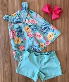 A imagem pode conter: shortsGive Your Toddlers What They Want – Stylish DenimsBaby Girl Clothing S - November 27 2018 atAnother great find on Coral Bow Yoke Tank & Shorts - Toddler & GirlsScarlett would look so pretty in this blue! Baby Girl Dress Patterns, Baby Dress Design, Frock Design, Dresses Kids Girl, Baby Outfits, Little Girl Outfits, Toddler Outfits, Kids Outfits, Baby Girl Fashion