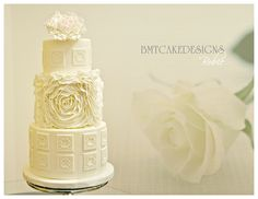 """Ruffles Wedding Cake - """"The rose speaks of love silently, in a language known only to the heart.""""    Less is more...simple design - inspiration and tutorials used - Sharon Wee Creations, JessicaCakes and Edna's Design Me a Cake"""