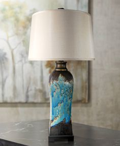 Mazara Rust - Azul Ceramic Table Lamp - #4D767 | Lamps Plus