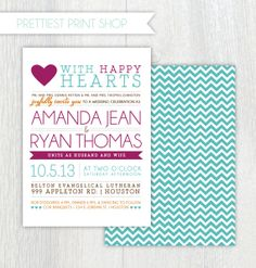 Printable Hochzeitseinladung  Happy Hearts  von PrettiestPrintShop, $35.00