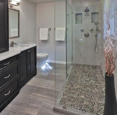 Cheap And Easy Useful Tips: Old Stand Up Shower Remodel shower remodeling diy how to build.Shower Remodel On A Budget Color Schemes walk in shower remodeling river rocks.Shower Remodel With Window Small Bathrooms. Pebble Shower Floor, Wood Tile Shower, Bathroom Floor Tiles, Wood Bathroom, Grey Bathrooms, Bathroom Ideas, Shower Ideas, Bathroom Pictures, Bathroom Black
