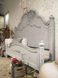 Painted Cottage Shabby Grey King Romance Bed por paintedcottages