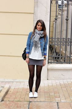 Denim jacket this fall stylecaster black tights, casual fall outfits, winte Mode Outfits, Skirt Outfits, Fashion Outfits, Womens Fashion, School Outfits, Sneakers Fashion, Trendy Fashion, Winter Fashion, White Sneakers Outfit