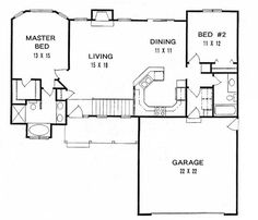 First Floor Plan of Ranch   House Plan 62518