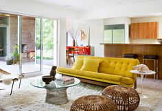 Home & Apartment Unique Bamboo Bench Plus Glass Coffee Table Modish Yellow Sofa On Fur Rug Present Modern Mid Century Living Area Resurrecting Mid-century Vibe in Modern Look for Impressive Interior Plan