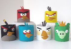 Toilet Tube Angry Birds - Angry birds are storming into your home in a very friendly way: budget-friendly, that is. They may be angry, but Toilet Tube Angry Birds are too cute to get mad at. You'll love making these paper angry birds look like the ones in the game. You can even use them to play a more gentle version of the game. Set up some paper blocks, and see how many pigs you can get. Hopefully you're using lots of toilet paper because once you start making these, you won't be able to