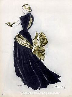 Evening gown from Nina Ricci illustrated by Pierre Mourgue, 1951
