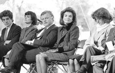 At a dedication at the John F. Kennedy Presidential Library - from left: John F. Kennedy Jr., Victoria Kennedy, Senator Ted Kennedy, Jacqueline Kennedy Onassis, Caroline Kennedy Schlossberg