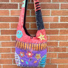 Handmade Hippie bag, Cotton Shoulder Bag. Beautiful patchwork Design, Cross body Women bag. Star, Peace sign and Flower Bag.