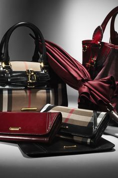 Burberry Autumn/Winter 2012 Accessories Collection - I adore the wine and signature checks. I would love to see a burgundy check!