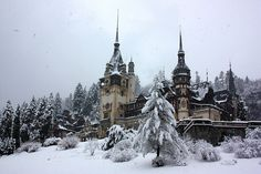 Snow Castle in Sinaia, Transylvania. Places Around The World, Oh The Places You'll Go, Places To Travel, Places To Visit, Around The Worlds, Vacation Places, Travel Destinations, Snow Castle, Peles Castle